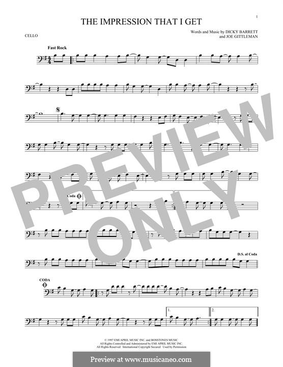 The Impression That I Get (The Mighty Mighty Bosstones): Für Cello by Dicky Barrett, Joe Gittleman
