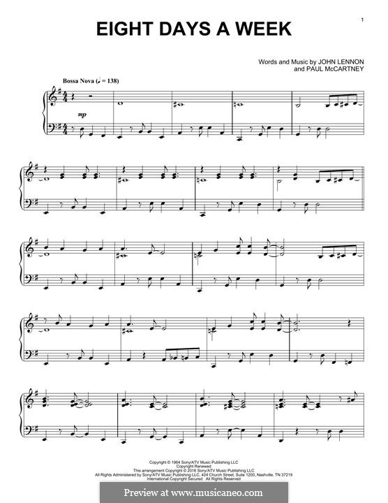 Eight Days a Week (The Beatles): Für Klavier by John Lennon, Paul McCartney