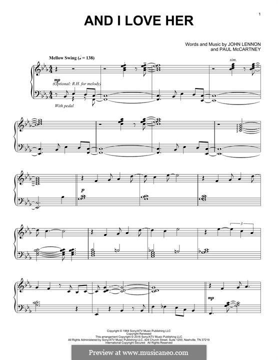 And I Love Her (The Beatles): Für Klavier (jazz version) by John Lennon, Paul McCartney