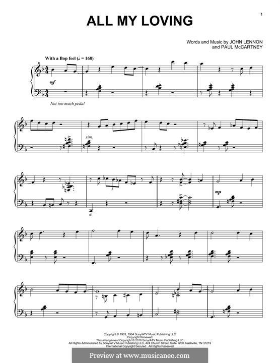 All My Loving (for guitar or piano): Für Klavier (jazz version) by John Lennon, Paul McCartney