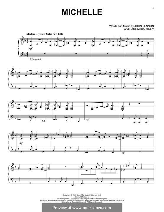 Michelle (The Beatles), for One Instrument: Für Klavier (jazz version) by John Lennon, Paul McCartney