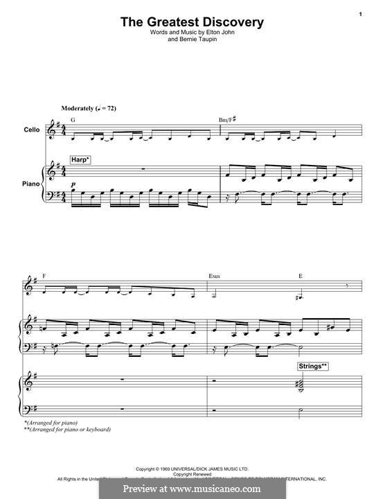 The Greatest Discovery: Für Cello und Klavier by Elton John