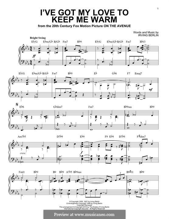 I've Got My Love to Keep Me Warm (Frank Sinatra): Für Klavier by Irving Berlin