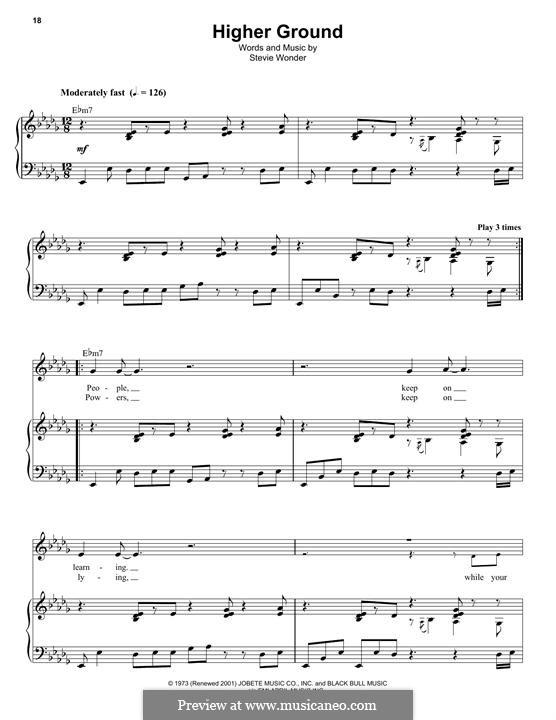 Higher Ground: Für Stimme und Klavier by Stevie Wonder