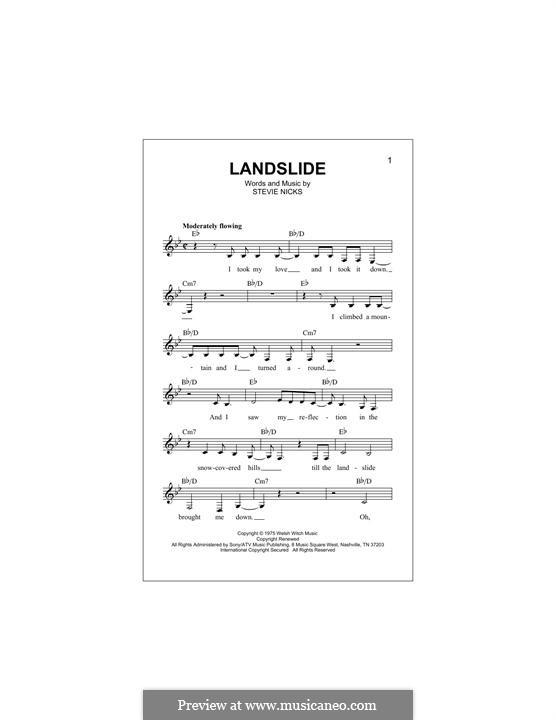 Landslide (Fleetwood Mac): Text und Akkorde by Stevie Nicks