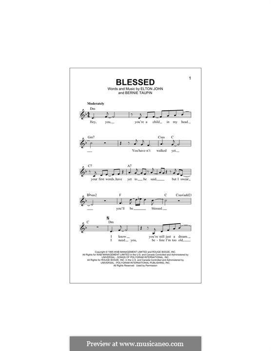 Blessed: Text und Akkorde by Elton John