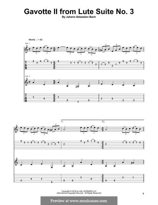 Suite für Laute Nr.3 in g-Moll, BWV 995: Gavotte II, for guitar by Johann Sebastian Bach