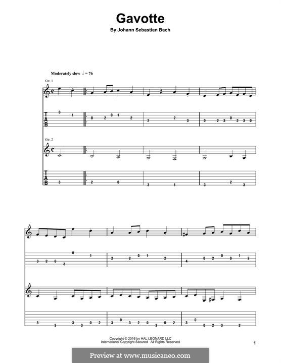 Partita für Violine Nr.3 in E-Dur, BWV 1006: Gavotte. Arrangement for guitar by Johann Sebastian Bach