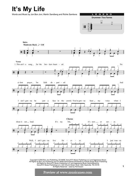 It's My Life (Bon Jovi): Drum set by Jon Bon Jovi, Max Martin, Richie Sambora