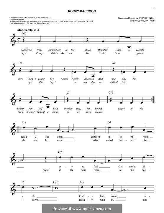 Rocky Raccoon (The Beatles): Melodische Linie by John Lennon, Paul McCartney
