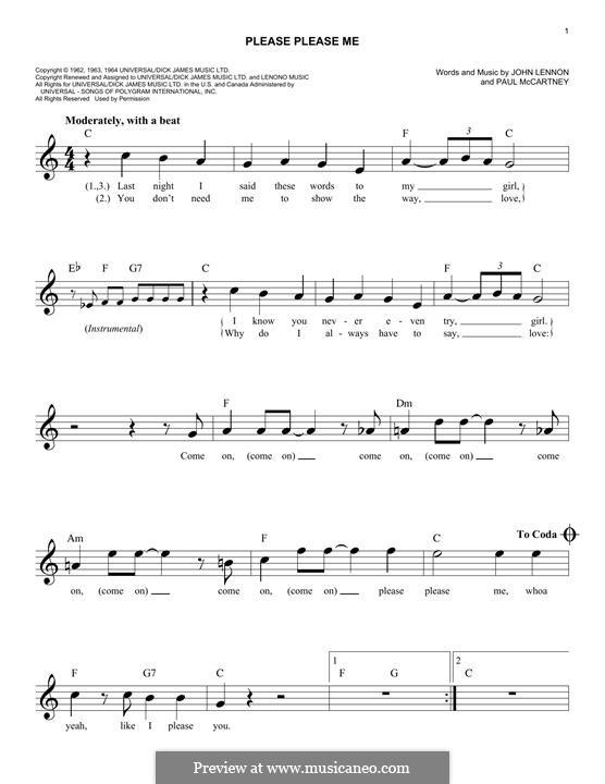 Please Please Me (The Beatles): Melodische Linie by John Lennon, Paul McCartney
