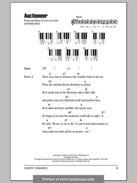 Auctioneer (Leroy Van Dyke): Für Stimme und Klavier by Buddy Black