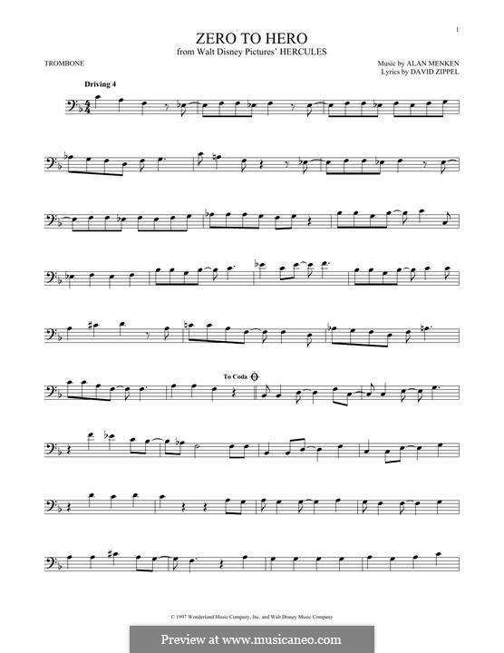 Zero to Hero (from Disney's Hercules): For trombone by Alan Menken