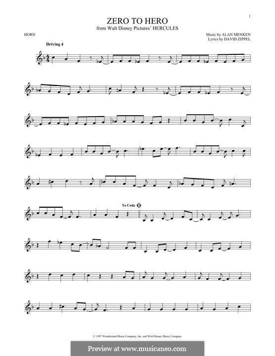 Zero to Hero (from Disney's Hercules): For horn by Alan Menken
