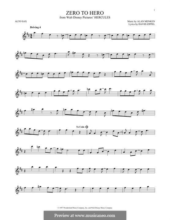Zero to Hero (from Disney's Hercules): Für Altsaxophon by Alan Menken