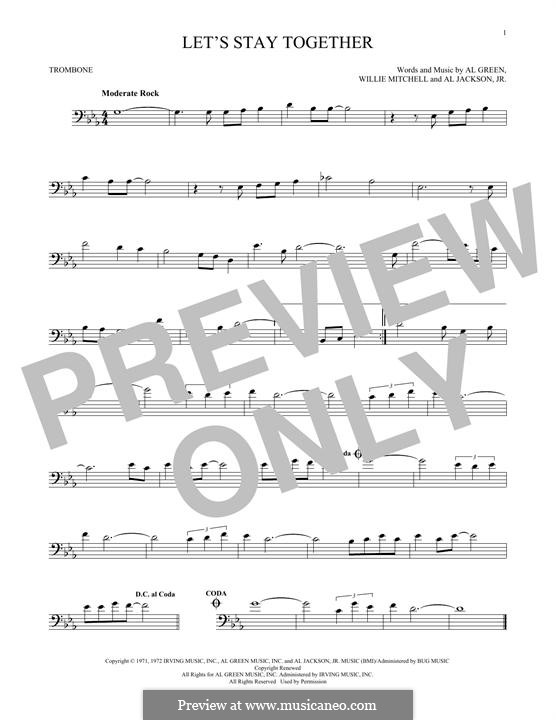 Let's Stay Together: For trombone by Willie Mitchell, Al Jackson Jr.