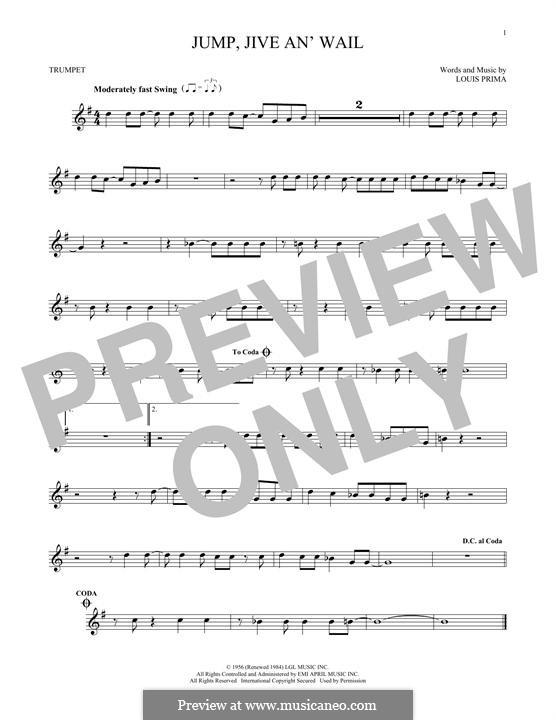 Jump, Jive an' Wail: Für Trompete by Louis Prima