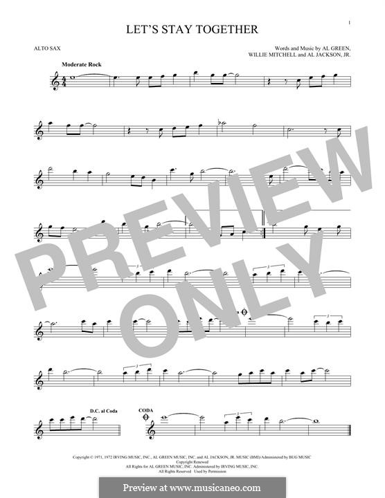 Let's Stay Together: Für Altsaxophon by Willie Mitchell, Al Jackson Jr.