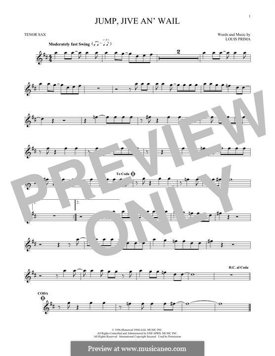 Jump, Jive an' Wail: Für Tenorsaxophon by Louis Prima