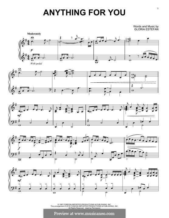 Anything for You: Für Klavier by Gloria M. Estefan