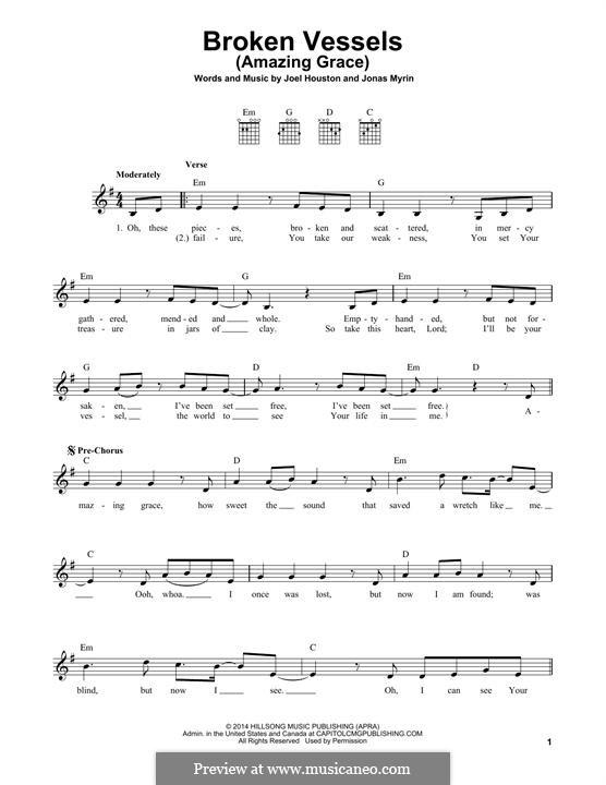 Broken Vessels (Amazing Grace): Für Gitarre mit Tabulatur by Jonas Myrin, Joel Houston