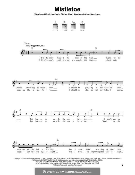 Mistletoe: Für Gitarre by Adam Messinger, Justin Bieber, Nasri Atweh