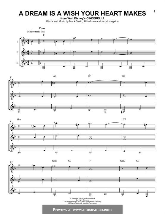 A Dream Is a Wish Your Heart Makes (from Disney's Cinderella): Für Gitarre by Al Hoffman, Jerry Livingston, Mack David