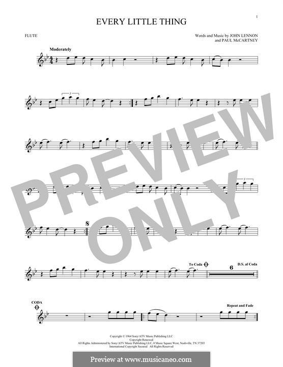 Every Little Thing (The Beatles): Für Flöte by John Lennon, Paul McCartney