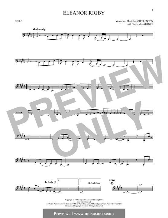 Eleanor Rigby (The Beatles): Für Cello by John Lennon, Paul McCartney