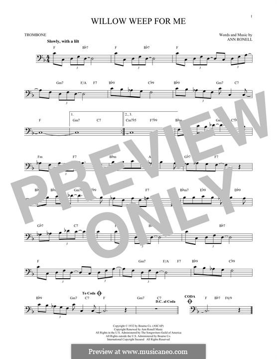 Willow Weep for Me (Chad & Jeremy): For trombone by Ann Ronell