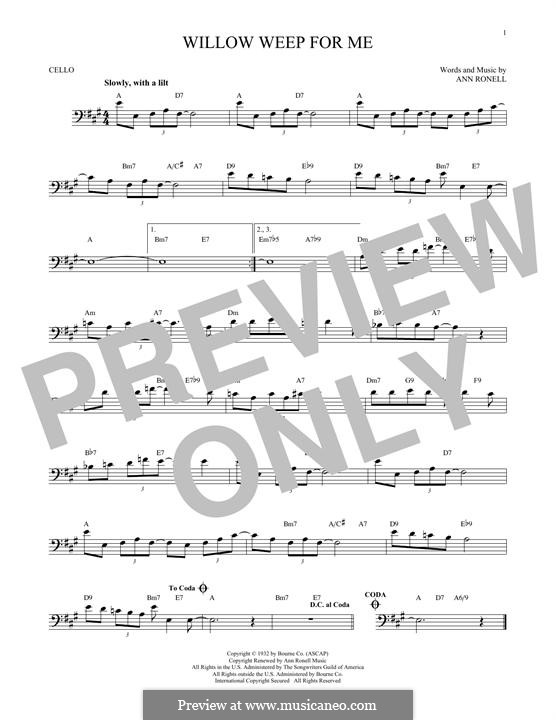 Willow Weep for Me (Chad & Jeremy): Für Cello by Ann Ronell