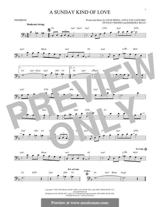 A Sunday Kind of Love: For trombone by Anita Leonard, Barbara Belle, Louis Prima, Stan Rhodes