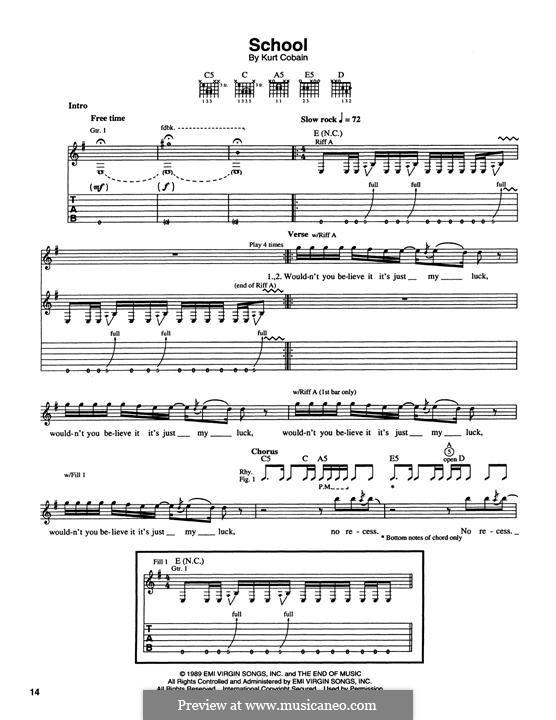 School (Nirvana): Für Gitarre mit Tabulatur by Kurt Cobain