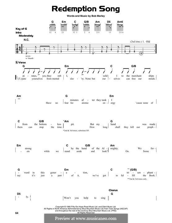 Redemption Song: Für Gitarre mit Tabulatur by Bob Marley