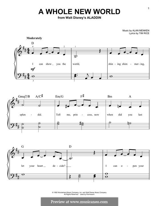 A Whole New World (from Aladdin), for Piano: Für einen Interpreten by Alan Menken