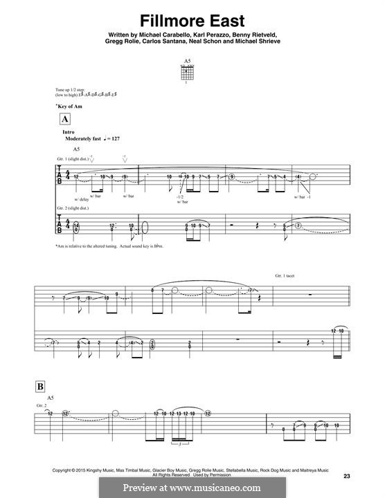 Fillmore East (Santana): Für Gitarre mit Tabulatur by Carlos Santana, Gregg Rolie, Karl Perazzo, Michael Carabello, Michael Shrieve, Neal Schon