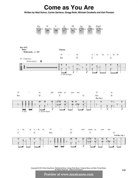 Come as You are (Santana): Für Gitarre mit Tabulatur by Carlos Santana, Gregg Rolie, Karl Perazzo, Michael Carabello, Neal Schon