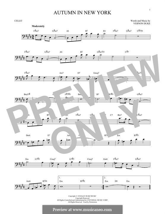 Autumn in New York: Für Cello by Vernon Duke