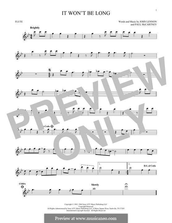 It Won't Be Long (The Beatles): Für Flöte by John Lennon, Paul McCartney