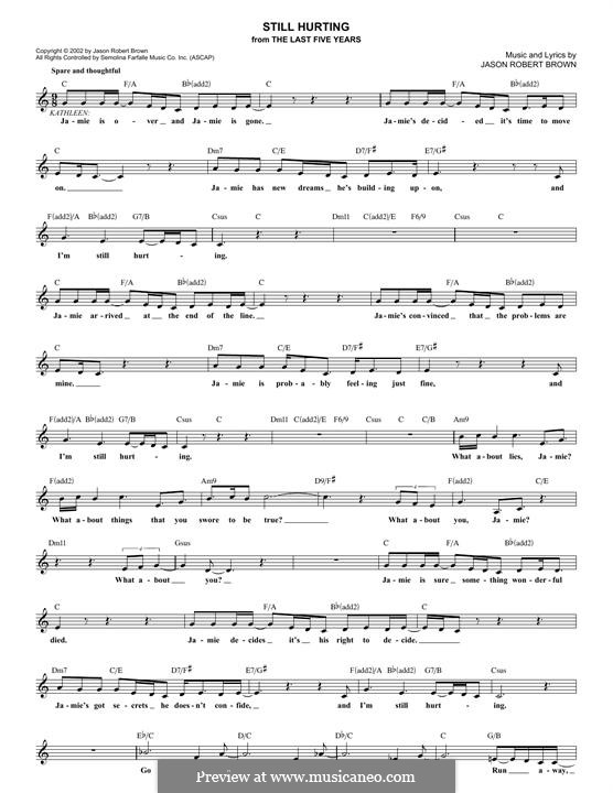 Still Hurting (from The Last Five Years): Melodische Linie by Jason Robert Brown