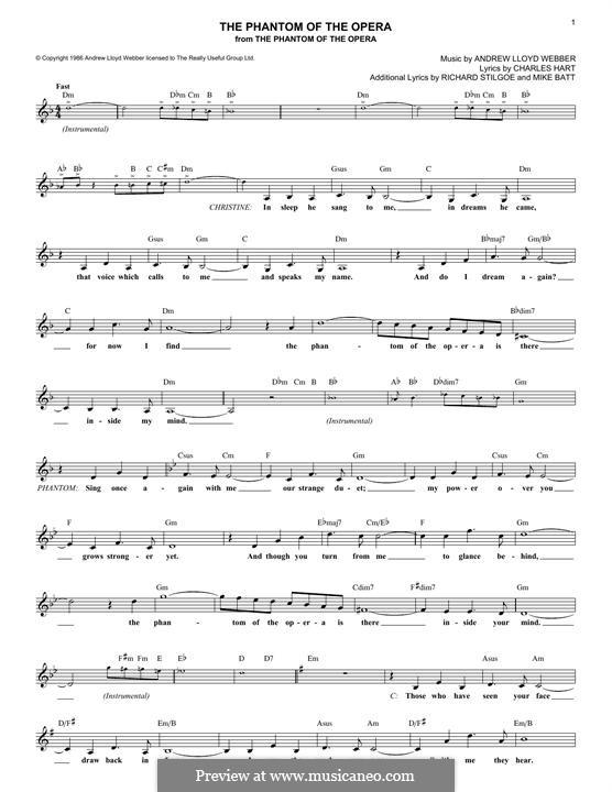 The Phantom of the Opera: Text und Akkorde by Andrew Lloyd Webber