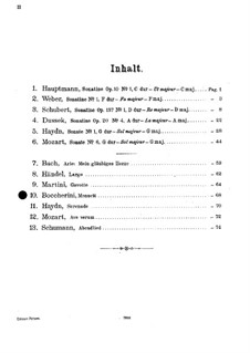 Streichquintett in C-Dur: Menuett. Version für Violine und Klavier by Luigi Boccherini