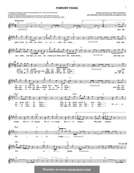 Forever Young II: Text und Akkorde by Bob Dylan, Jim Cregan, Kevin Savigar, Rod Stewart
