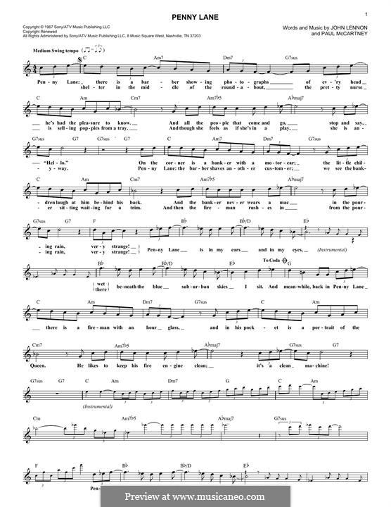 Penny Lane (The Beatles): Melodische Linie by John Lennon, Paul McCartney