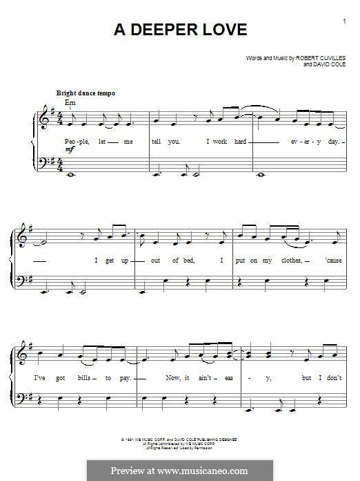 A Deeper Love (Aretha Franklin): Für Klavier by David Cole, Robert Clivilles