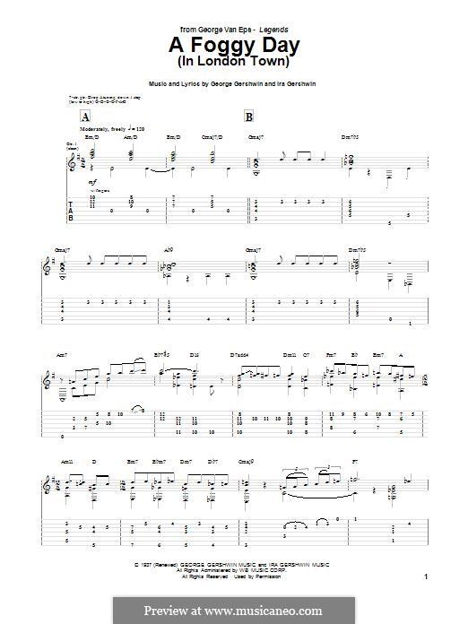 A Foggy Day (In London Town): Für Gitarre mit Tabulatur by George Gershwin