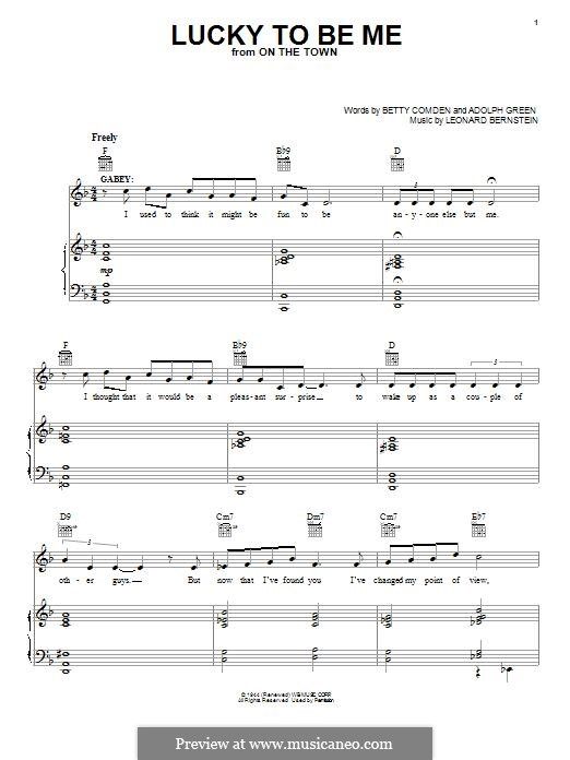 Lucky To Be Me: Für Stimme und Klavier (oder Gitarre) by Leonard Bernstein, Adolph Green