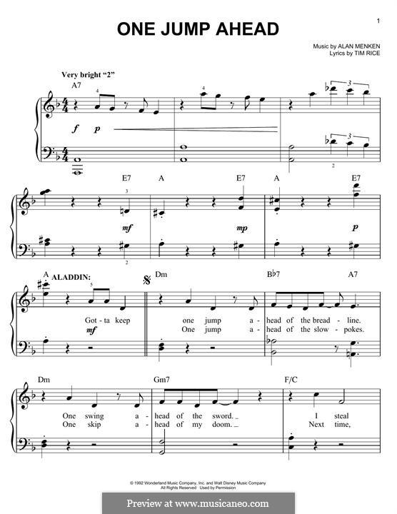 One Jump Ahead (from Disney's Aladdin): Für Klavier by Alan Menken