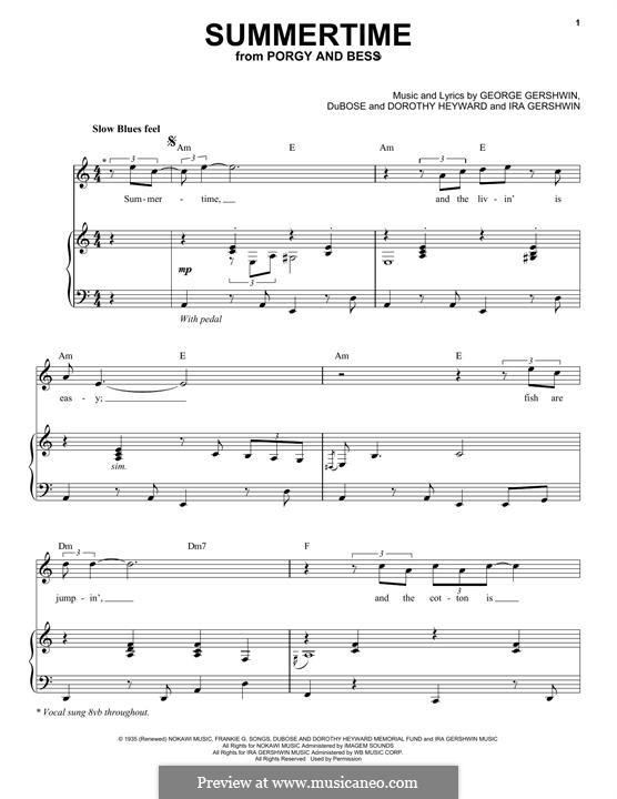 Summertime: Für Stimme und Klavier by George Gershwin