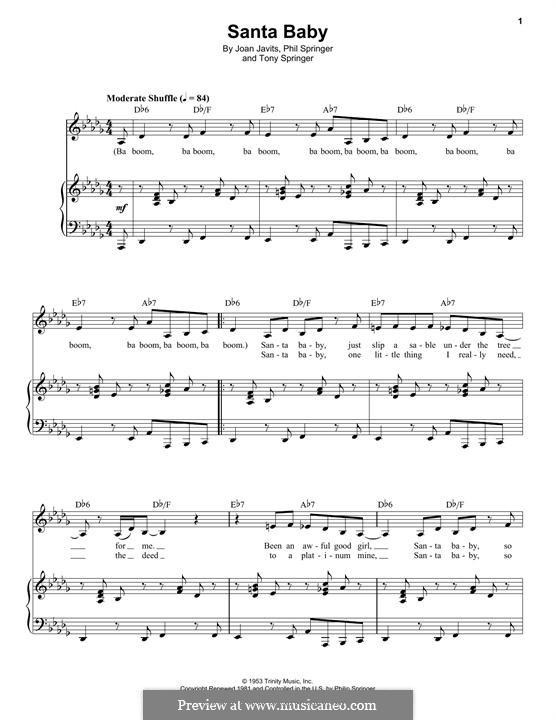 Santa Baby (Eartha Kitt): Für Stimme und Klavier by Joan Javits, Philip Springer, Tony Springer